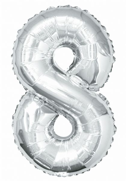 Silver Number 8 Foil Balloon